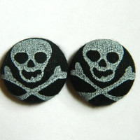 Button Earrings Skull Black Grey Halloween