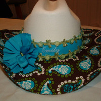 Little Cowgirl Hat Brown Turquoise Green by BluebonnettBoutique