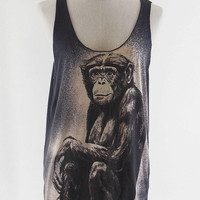 Monkey T-Shirt Art Animal Tank Top black T-Shirt Tunic Screen Print Size M