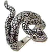 Snake Ring sterling silver with Black Oxidised