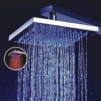 LightInTheBox 8 Inch Single Function Temperature Sensitive Rainfall LED Shower Head,Chrome: Home Improvement