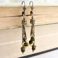 Pirate Dangle Earrings  - Antique Brass with oversized matte green seed beads - Pirate Jewelry