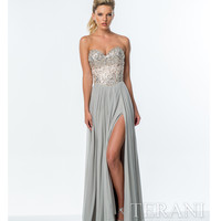 Silver & Nude Crystal Embellished Strapless Gown