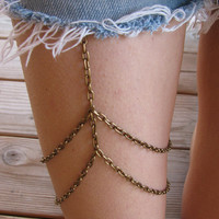Bronze chain leg chain thigh chain