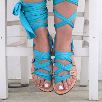 "Greek Gladiator sandals Customizable, Wrap up sandals, Choose scarf laces from 18 colors and leather footbed from 6 colors  ""ATHENA"" ATHS12"