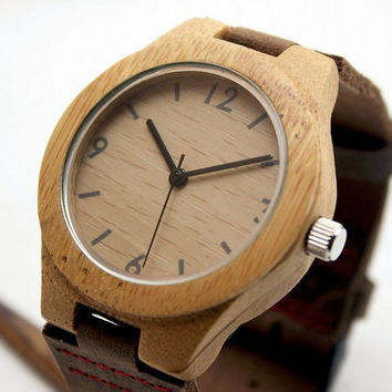 Personalized Minimalist Engraved Wooden Watch with Genuine Leather, Mens watch, Groomsmen gift, Wood Watch Bamboo Watch HUT005