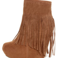 Dollhouse Sheena Chestnut Fringe Wedge Booties - $49.00