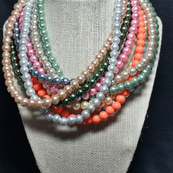 Single Strand 8mm Glass Pearl Necklace - Multiple Colors