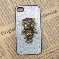 Steampunk Owl Silver bling glitter hard case For Apple iPhone 4 case iPhone 4s case cover