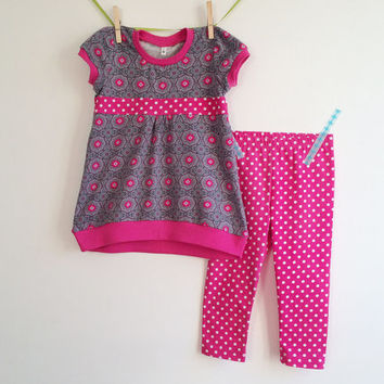 Girls Tunic and Leggings, Toddler girls outfit, size 3T, Grey Pink, Spring Girls Clothing, Euro Style Boutique Farbenmix