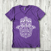Hamsa print, American Apparel Women's Round Neck T - Shirt