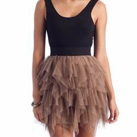 two-fer tulle skirt tank dress in BLACK TAUPE - New Dresses | GoJane.com