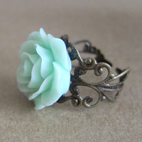 Mint Floral Ring Mint Rose Ring Mint Green Rose Ring Antique Filigree Ring - L&#x27;Amour - Antique Brass Filigree