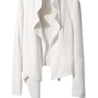 ROMWE | Asymmetry Sides White Chiffon Blazer, The Latest Street Fashion