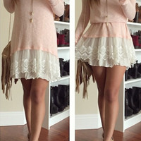 Knitted Solid Ruffle Dress - Peach