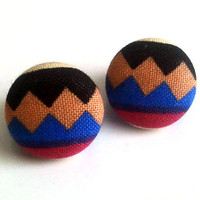 Black tan and blue zigzag african tribal button earrings