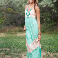 Light Jade and Peach Chevron Spaghetti Strap Maxi Dress