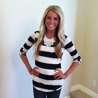 Black and White Striped Pocket Top with Button Ruched Sleeves