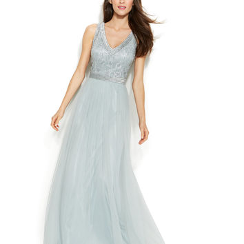 Joanna Chen Sleeveless Embellished V-Neck Gown