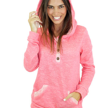 Coral Hoodie with Buttons