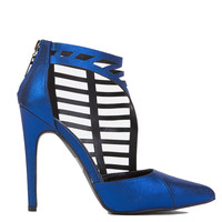 Cut Out Cage Heels in Blue Metallic