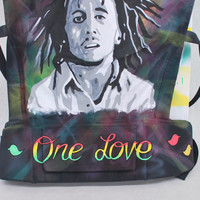 Custom Hand Painted Bob Marley theme Tula - One Love