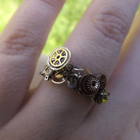 Steampunk ring, 925 silver, unisex steampunk ring, watch gear ring, silver, bronze and gold ring, OOAK