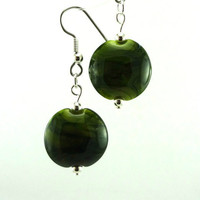 Lemongrass Lampworked Glass Bead Earrings by MercuryGlass on Etsy
