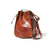 Mocha Brown Leather Draw String Bucket Bag