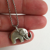 Lucky Elephant Necklace, Stainless Steel Fine Ball Chain, Lucky Elephant, Baby Elephant, Gift Box