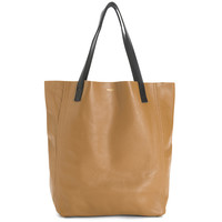 THE PERFECT LEATHER TOTE 'ALPHA' CAMEL/BLACK