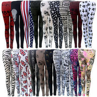 LADIES WOMENS PATTERNED LEGGINGS SIZE 8 10 12 14 SKULL CROSS FOIL BLACK PRINT
