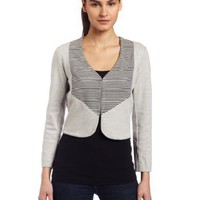 Monrow Womens Stretch Fleece Block Stripe Jacket $204.40