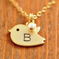 Personalized Bird Necklace - handstamped necklace, initial necklace, birthstone necklace, mom necklace, monogrammed necklace