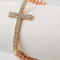 Rose Gold Side Cross Bracelet Rhinestone Cross NWT