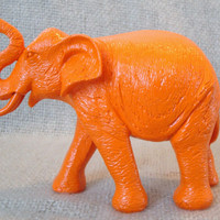 elephant / orange / neon / home decor / nursery decor / kitsch / animal decor