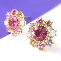 Tiny Pink Snowflake Stud Earrings in Gold with Rhinestones