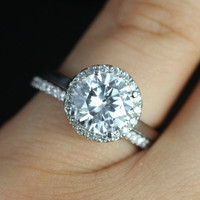 14kt White Gold Thin White Sapphire Round Halo No Diamonds On Shank Engagement Ring (Other metals and stone options available)