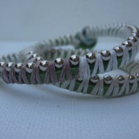 White and Gray on Mint Wrapped Bracelet