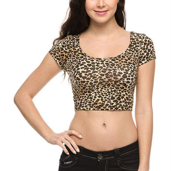 Sexy Animal Leopard Print Scoop Neck Short Sleeve Cropped Belly Tee Shirt Top