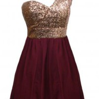 Wine Color One Shoulder Dress with Sequin Top&amp;Chiffon Skirt