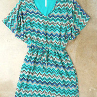 Teal Zig Zag Dress [3336] - $38.00 : Vintage Inspired Clothing &amp; Affordable Fall Frocks, deloom | Modern. Vintage. Crafted.