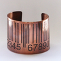 Barcode Etched Copper Cuff Bracelet