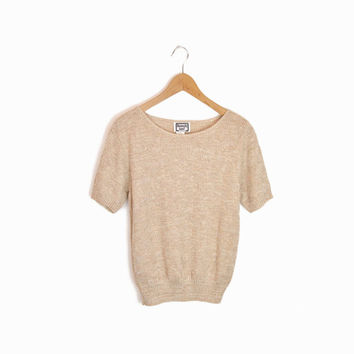 Vintage 80s Triangle Knit Short Sleeve Top in Tan - small