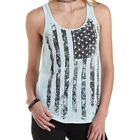 Sleeveless American Flag Tank Top by Charlotte Russe - Blue Light