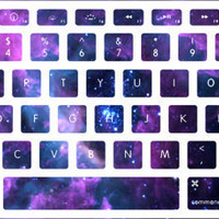 Lavender Nebula Stellar Ring Macbook Keyboard Stickers
