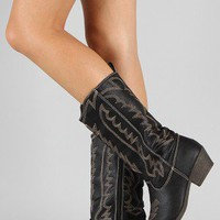 Austin-03 Embroidered Cowboy Mid Calf Boot