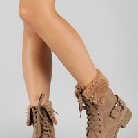 Al-1 Shearling Lace Up Round Toe Mid Calf Boot