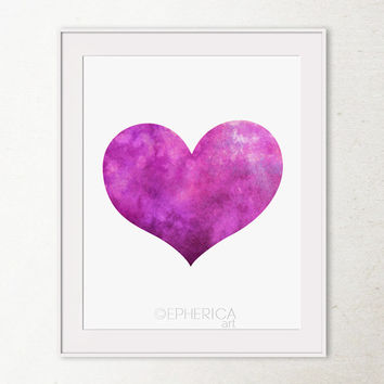 Purple heart art print Valentines Decor, Valentine's Day gift Purple decor wall print Purple art, Bedroom decor