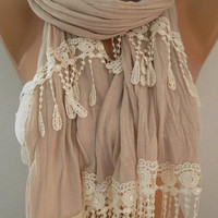 Georgeus  Scarf   Elegance  Scarf  Feminine  scarf  Beige Scarf..... It made with good quality  fabric.